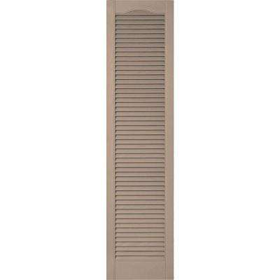 18 in. x 59 in. Lifetime Vinyl Custom Cathedral Top All Open Louvered Shutters Pair Wicker