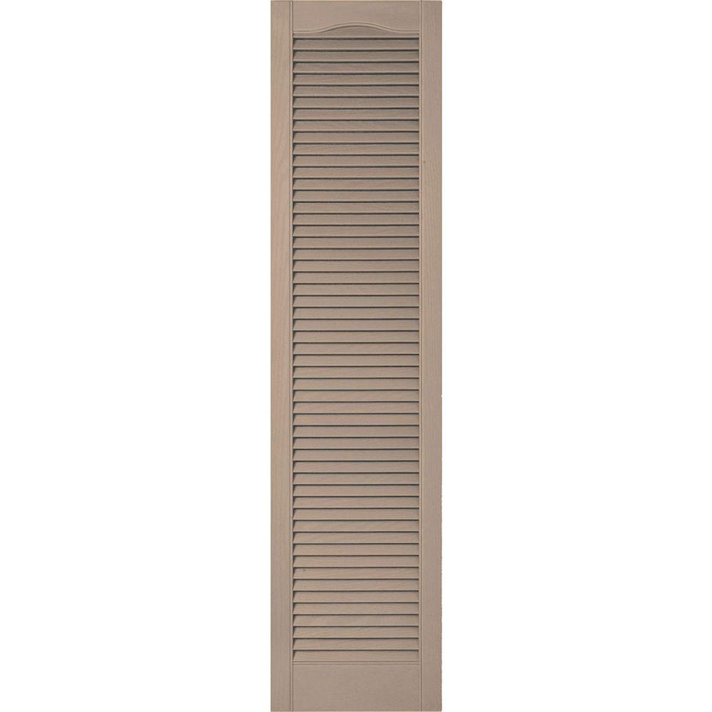 Ekena Millwork 14 1 2 In X 39 In Lifetime Vinyl Custom Cathedral Top All Louvered Open Louvered Shutters Pair Wicker Ll5c14x03900wi The Home Depot