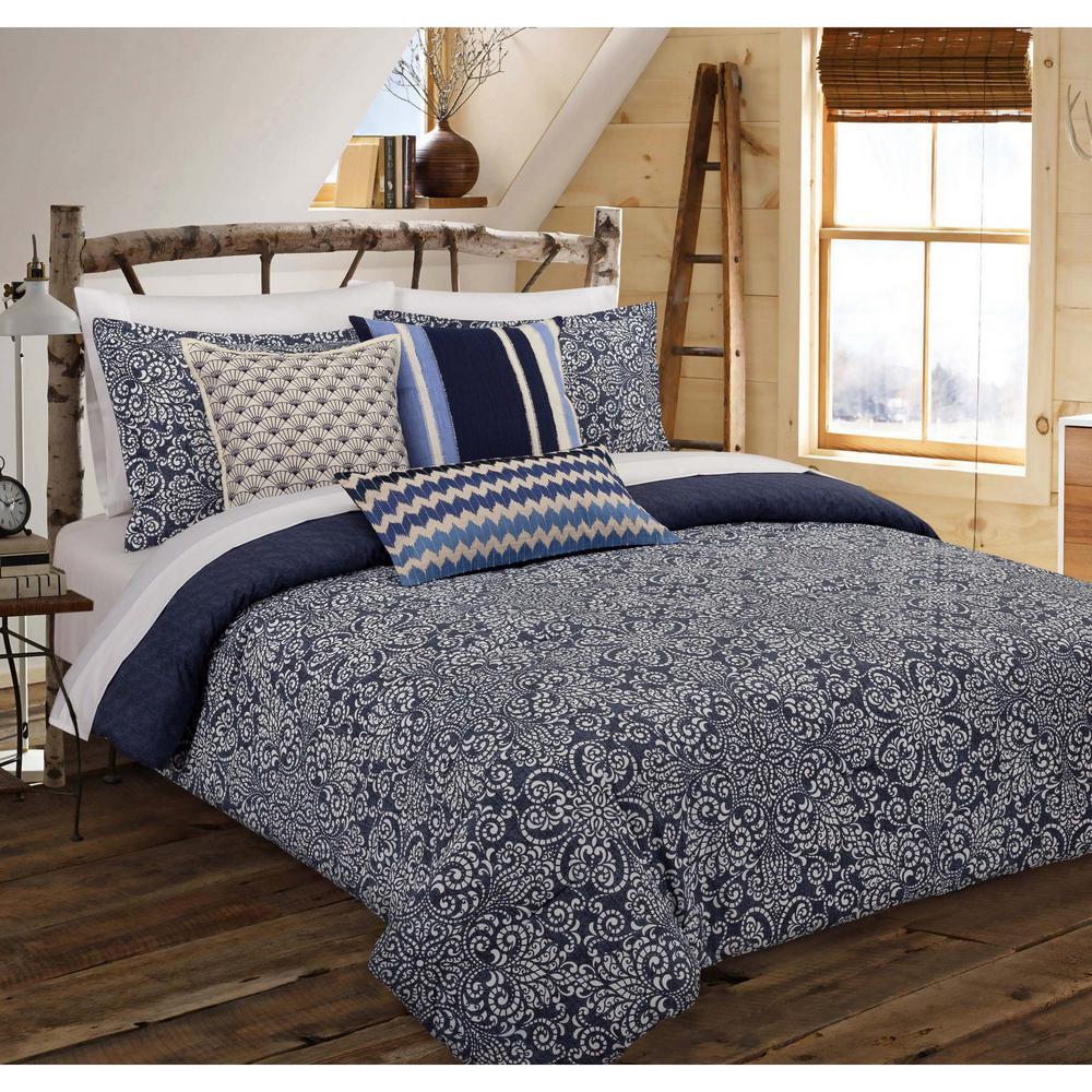 Cutwork 3-Piece Indigo Floral King Comforter Set