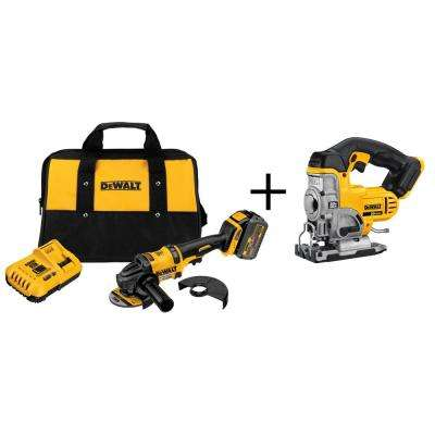 FLEXVOLT 60-Volt Lithium-Ion Cordless 4-1/2 in. Angle Grinder Kit with Bonus 20-Volt Max Jig Saw