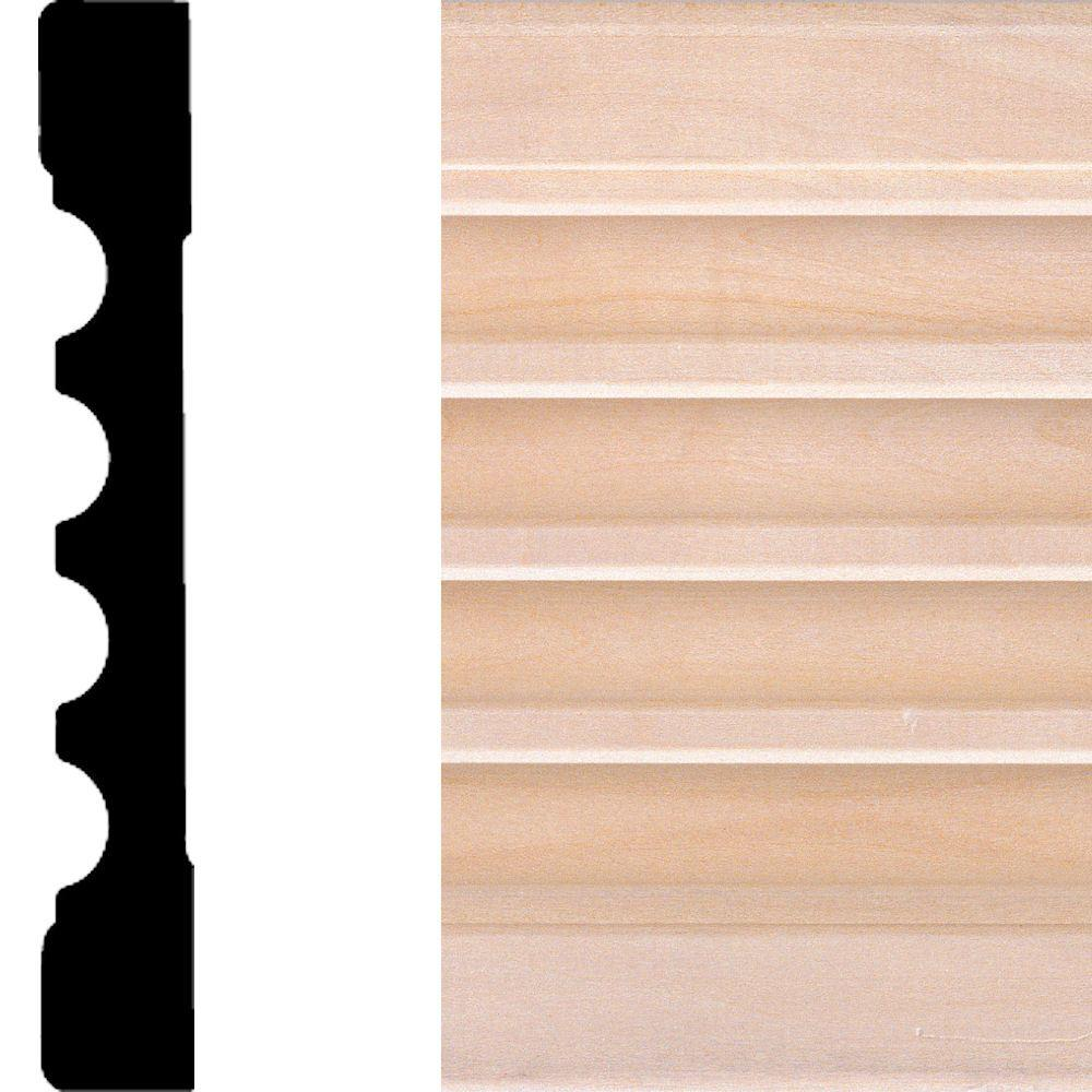 3/4 in. x 5-1/4 in. x 7 ft. Basswood Fluted Casing
