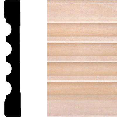 3/4 in. x 5-1/4 in. x 7 ft. Basswood Fluted Casing Moulding