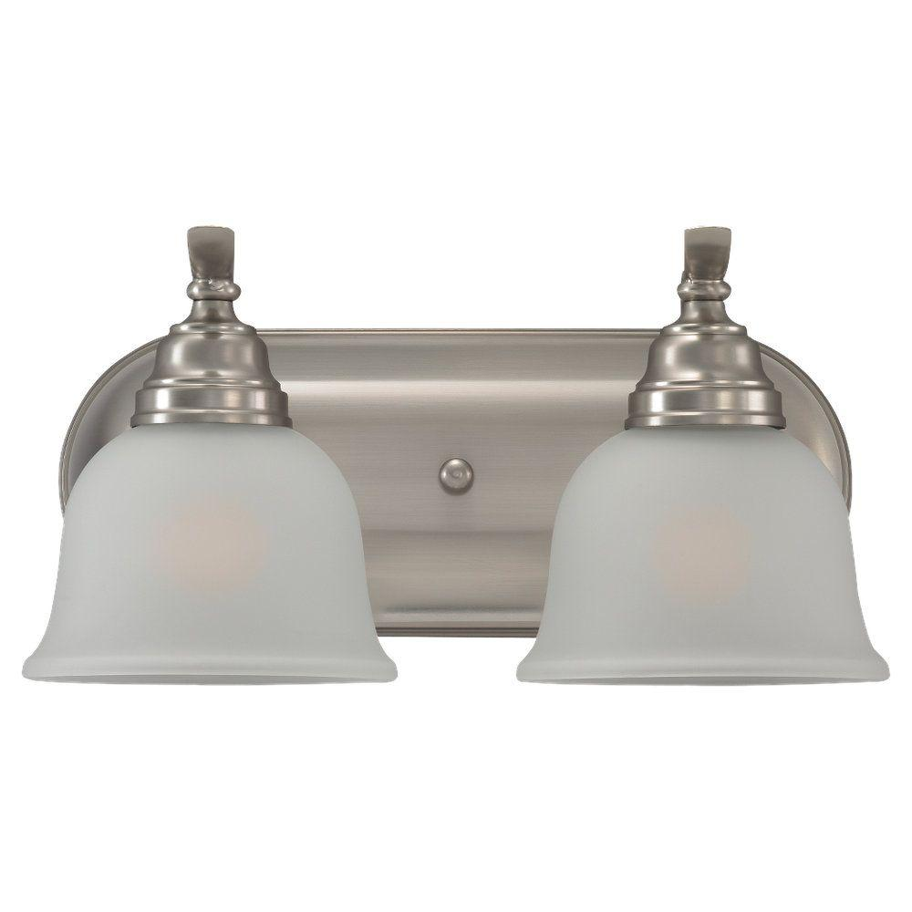 Vanity Light Home Depot: Sea Gull Lighting Wheaton 2-Light Brushed Nickel Vanity