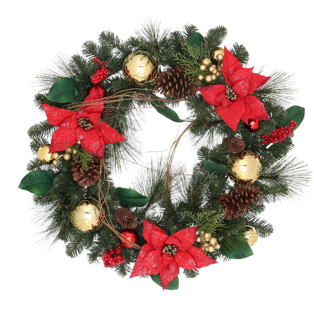 30 in. Pine Wreath with White Berries and Pine Cones