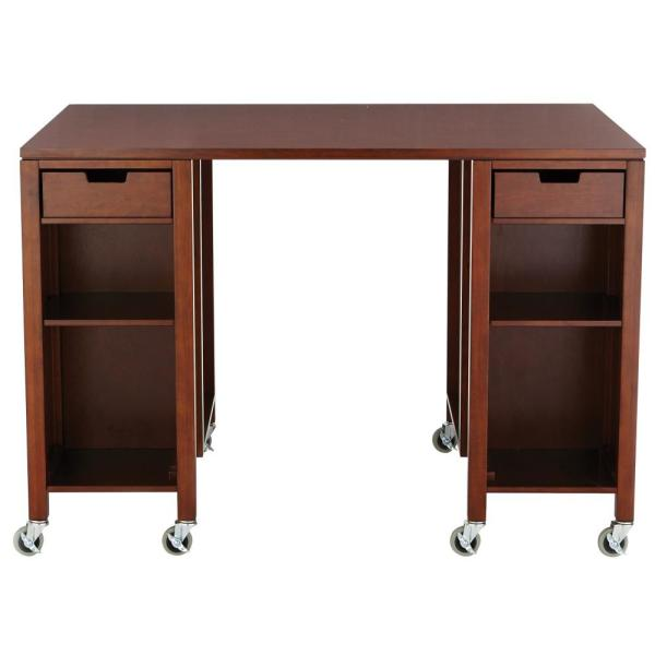 Martha Stewart Living Craft Space Sequoia Brown Storage Table with Casters