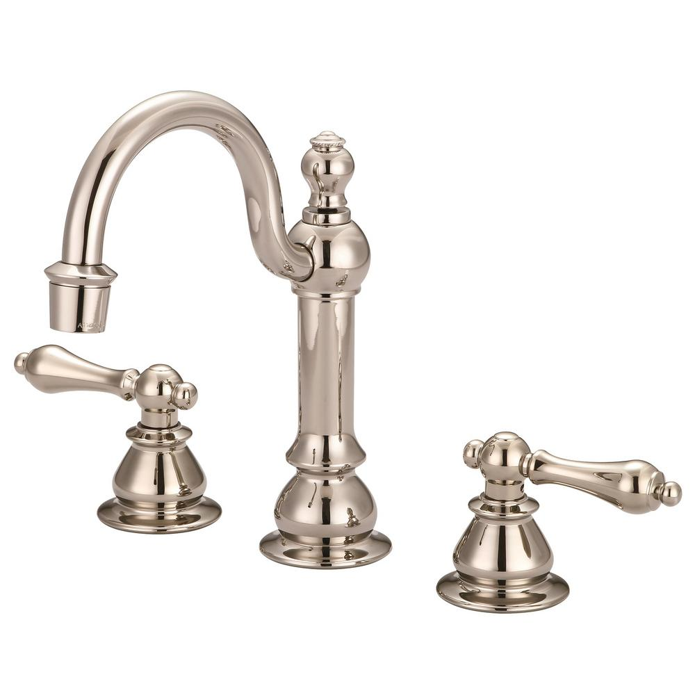 Water Creation Vintage Classic 8 in. Widespread 2-Handle High Arc Bathroom Faucet with Pop-Up Drain in Polished Nickel