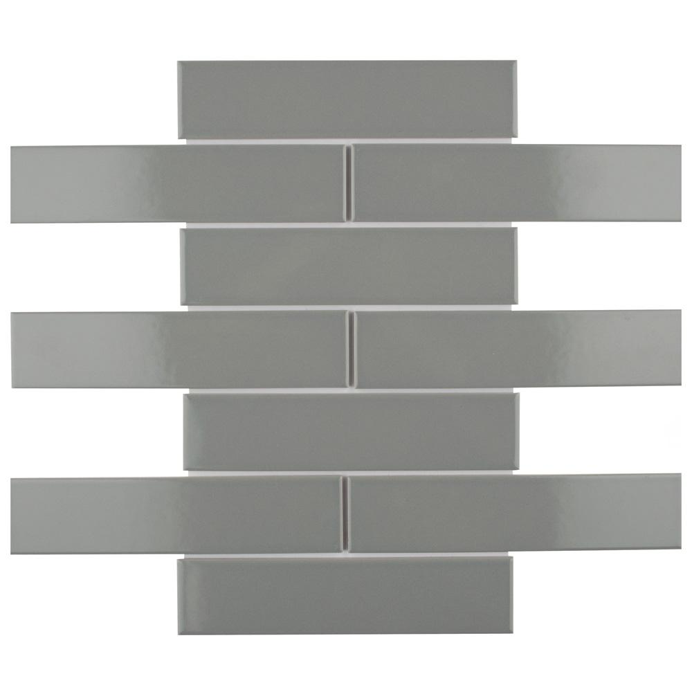 Merola Tile Metro Soho Glossy Light Grey 1-3/4 in. x 7-3/4 in. Porcelain Floor and Wall Subway Tile (1 sq. ft. / pack), Glossy Light Grey / High Sheen was $18.36 now $12.49 (32.0% off)