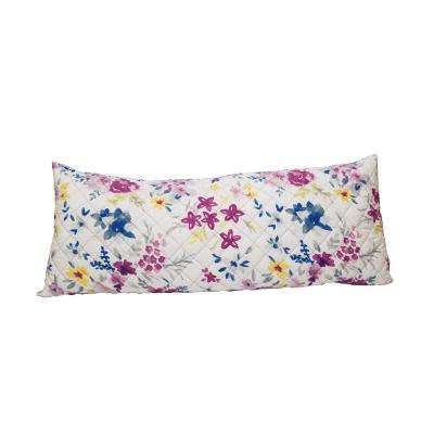 Charon Body Pillow: Top Quilted Floral Print Bottom Solid Color