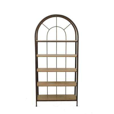 Brown Metal Framed Bookshelf