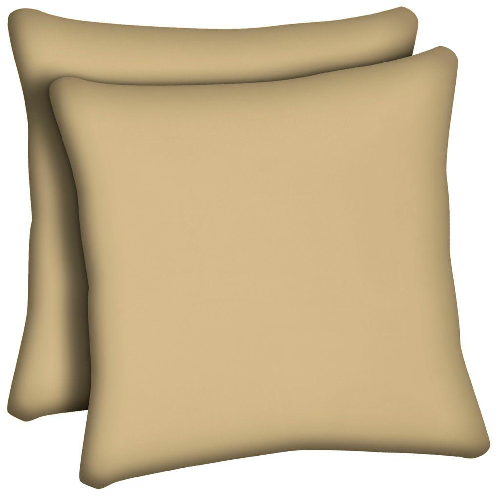 Hampton Bay Roux Tan Outdoor Throw Pillow (2-Pack)-DISCONTINUED
