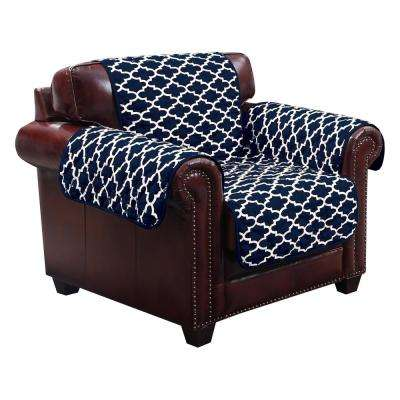 Coby Water Resistant Navy Fit Polyester Fit Chair Slip Cover