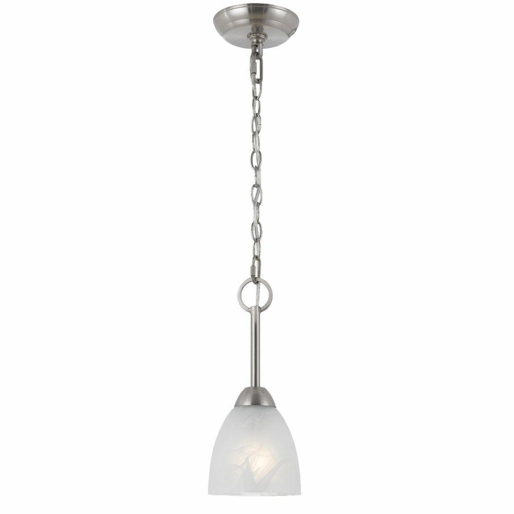 Lampu 1-Light Satin Nickel Mini Pendant