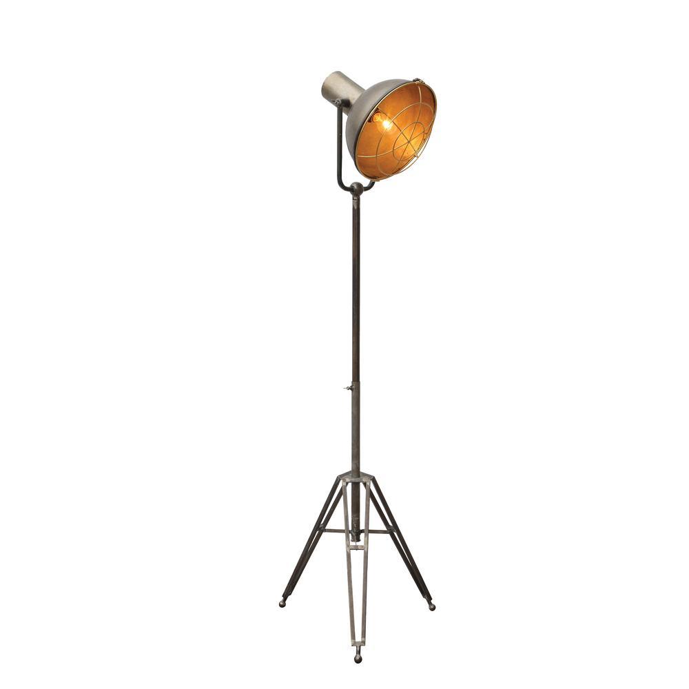 3R Studios 61.75 in. Grey Tripod Floor Lamp with Metal Shade