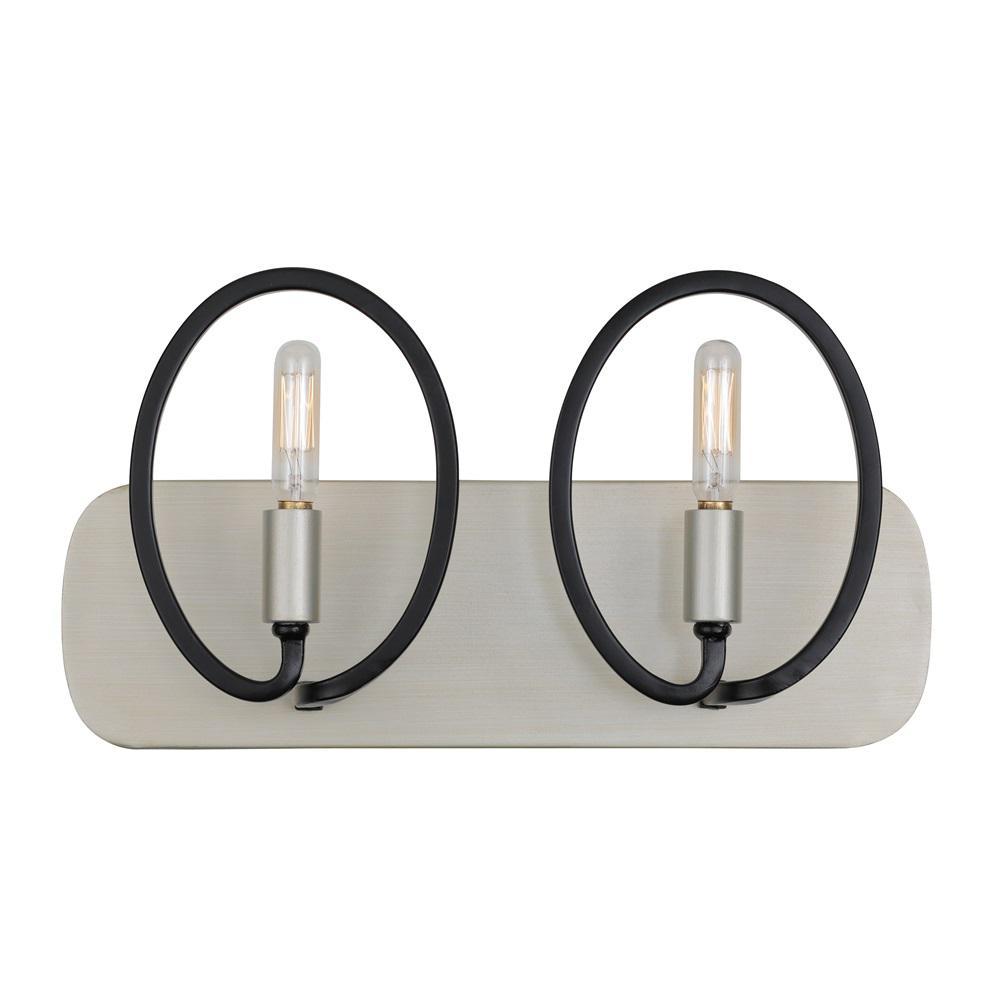 Eliptico 2-Light Silverado and Black Bath Light