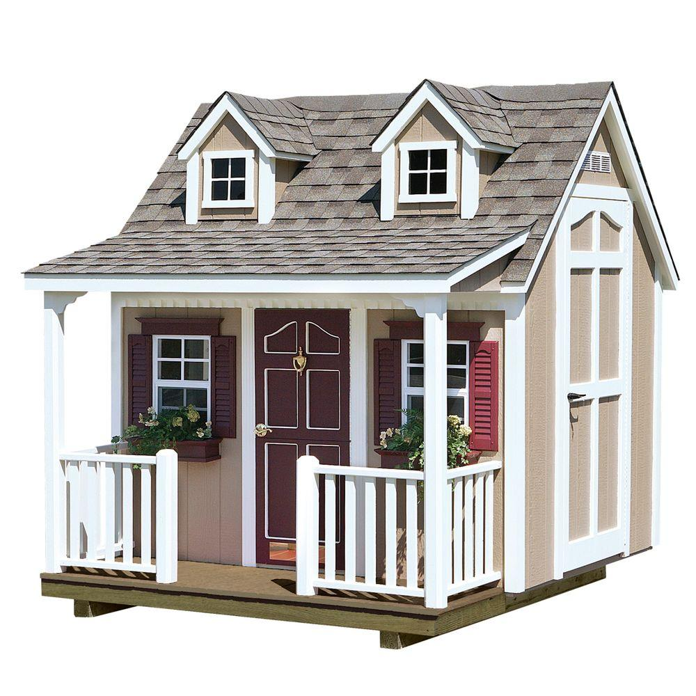 HomePlace Structures 8 ft. x 9 ft. Backyard Cottage Playhouse with Porch and Dormers