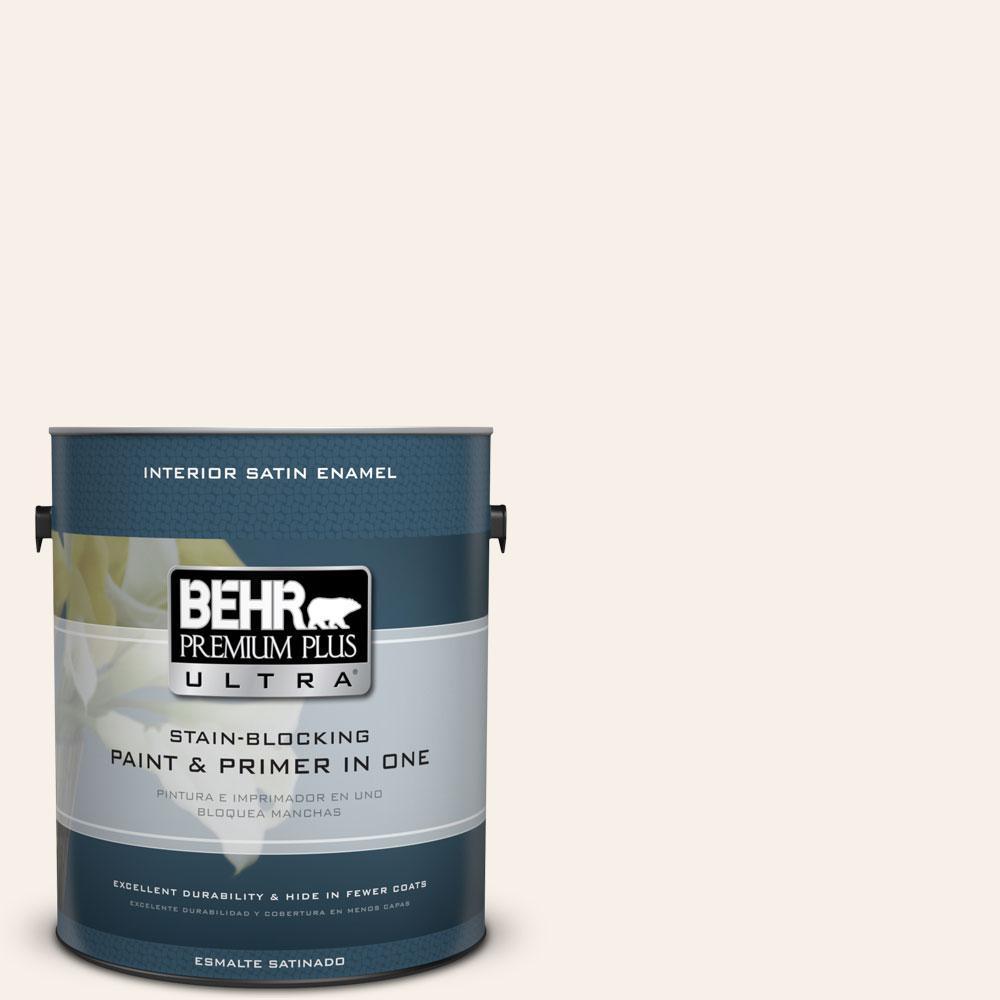 BEHR Premium Plus Ultra 1-gal. #PWN-34 White Luxury Satin Enamel Interior Paint