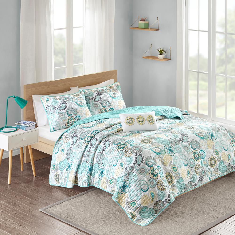 Mi Zone Asha 4-Piece Blue Full/Queen Print Coverlet Quilt Set MZ13-511