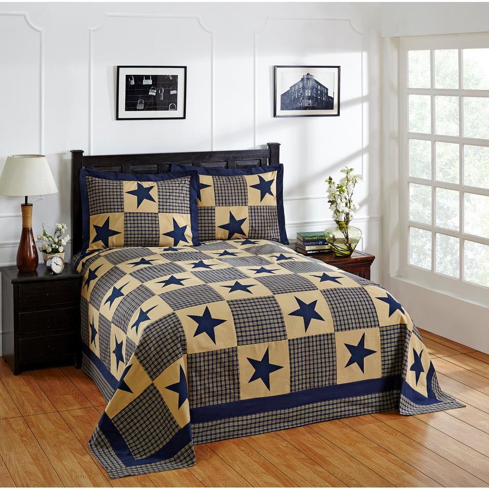 Star 102 in. X 110 in. Queen Blue & Gold Bedspread