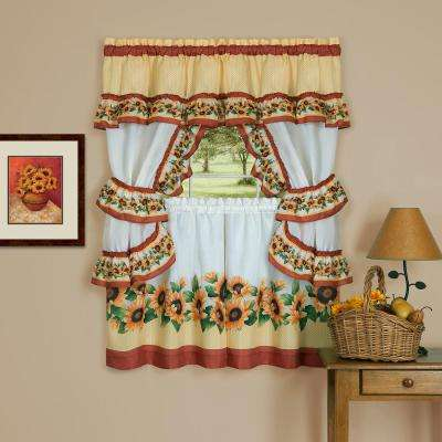 Sheer Black Eyed Susan 24 in. L Polyester Window Curtain Set in Spice