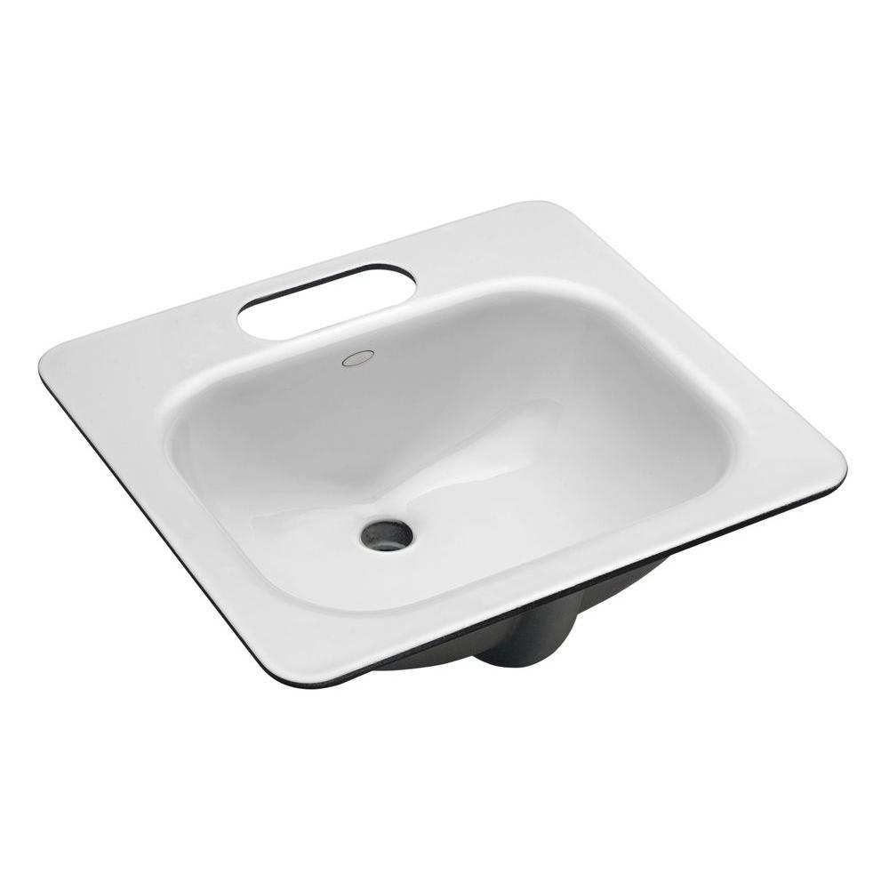 Tahoe Undermount Cast Iron Bathroom Sink in White with Overflow Drain