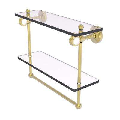 Pacific Grove 16 in. Double Glass Shelf with Towel Bar and Groovy Accents in Satin Brass