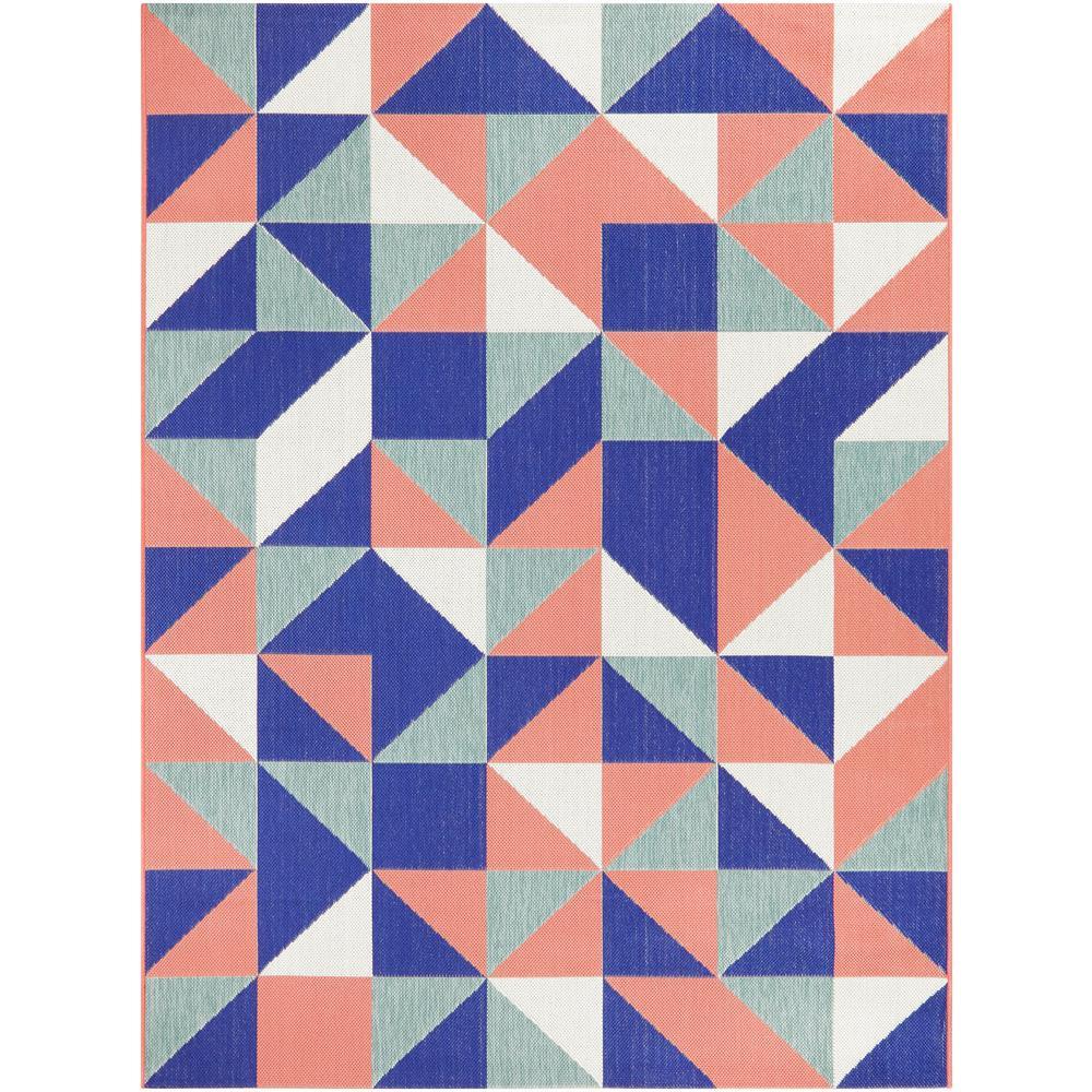 Geo Multi-Color Pink 5 ft. x 7 ft. Geometric Indoor/Outdoor Area Rug