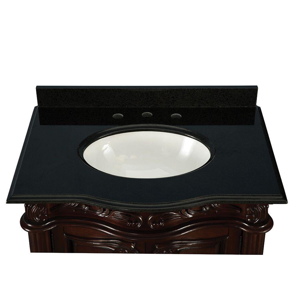 Unbranded Estates 31 In Vanity In Rich Mahogany With Granite Vanity Top In Black Etgvt3021 The Home Depot