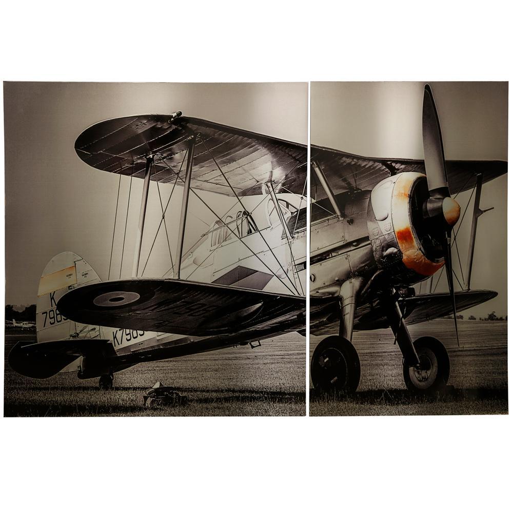 StyleCraft Vintage Propellor Plane Art Panels (2-Piece), Multicolored was $509.99 now $214.32 (58.0% off)
