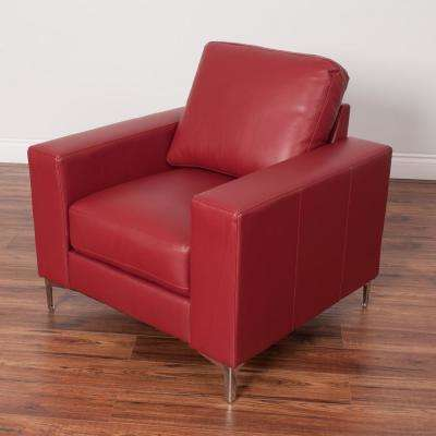 Cory Contemporary Red Bonded Leather Chair