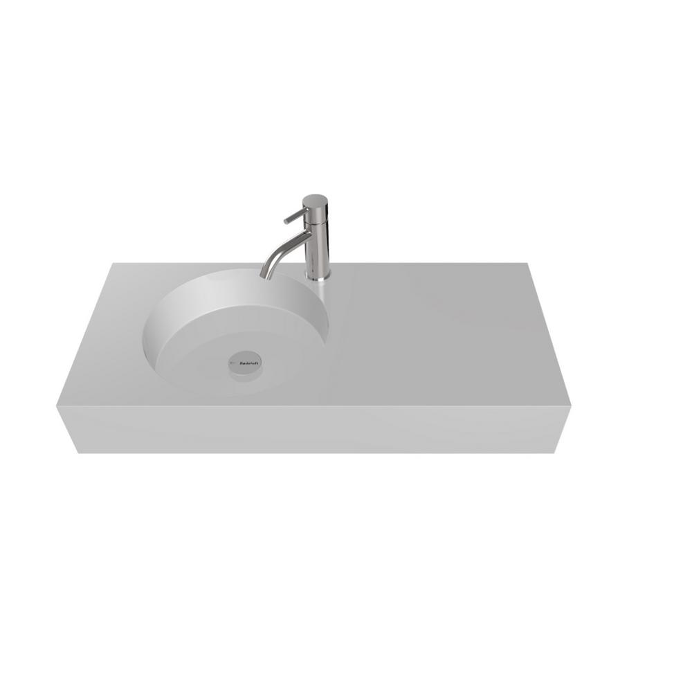 Badeloft Usa 39 In Wall Mount Vessel Sink Glossy White
