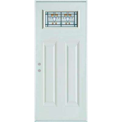 33.375 in. x 82.375 in. Architectural Rectangular Lite 2-Panel Painted White Steel Prehung Front Door
