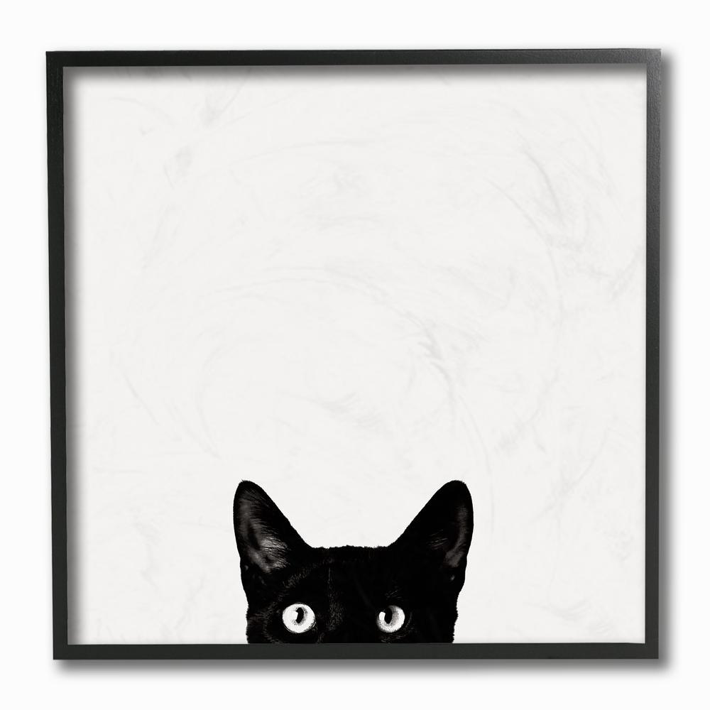 """12 in. x 12 in. """"Minimal Monochrome Black Cat Peeking From Below"""" by Jon Bertelli Framed Wall Art"""