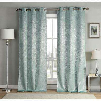 Maddie 38 in. W x 96 in. L Polyester Window Panel in Robin's Egg Blue