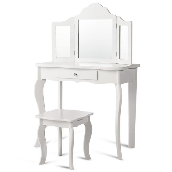 Costway White Wood Vanity Table Set Bedroom Makeup Dressing Table Stool With Mirror Set Of 2 Hm0008 The Home Depot
