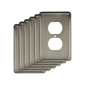 stamped round decorative single duplex outlet cover satin nickel 6pack decora 2gang midway nylon wall plate white