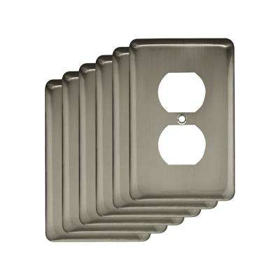 Stamped Round Decorative Single Duplex Outlet Cover, Satin Nickel (6-Pack)