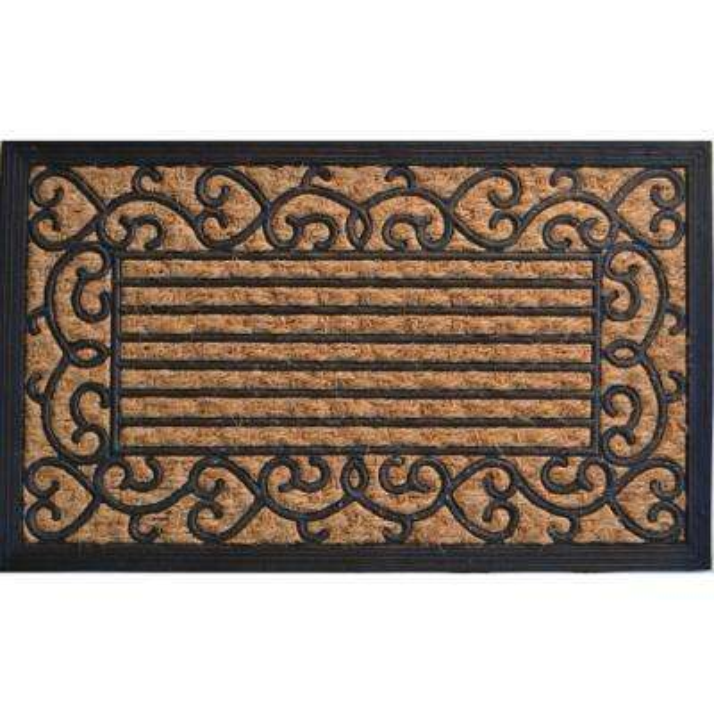Non-Brush Rubber Back, Vine Border, 30 in. x 18 in. Coir Door Mat