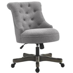 Sinclair Light Gray And White Dots Upholstered Fabric With Wood Base Office Chair