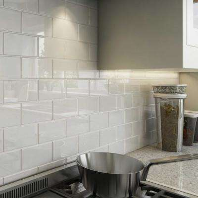 Bright White 3 in. x 6 in. x 8 mm Glass Subway Tile (5.5 sq. ft./case)