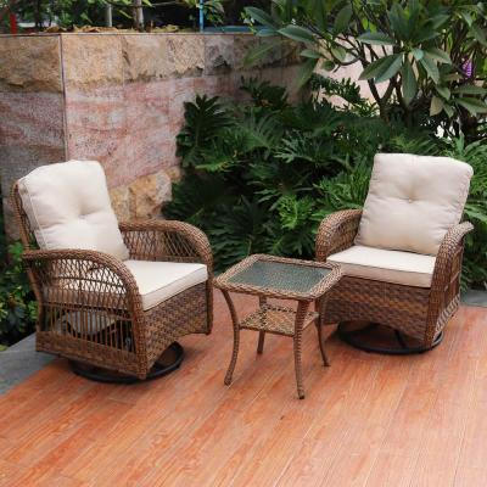 3-Piece Wicker Swivel with Cushions Patio Conversation Set - Light Brown