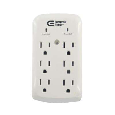 6-Outlet Wall Mount Surge Protector, White