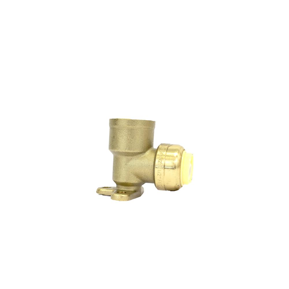 1/2 in. Brass 90° Push Connect Plumbing Fitting x Female Pipe Thread Drop Ear Elbow (10-Pack)