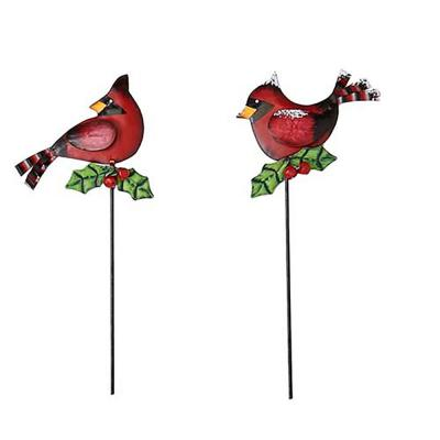 20 in. Metal Cardinal on Stake (Set of 4)
