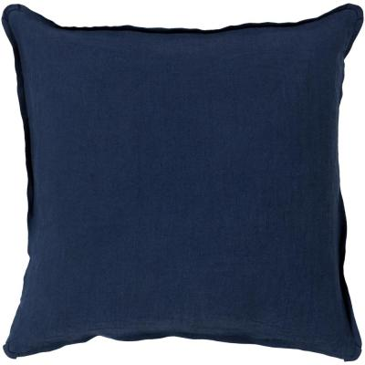 Zevgari Navy Solid Polyester 22 in. x 22 in. Throw Pillow