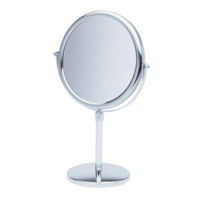 9 in. x 16 in. Round Table Pedestal Makeup Mirror with Strong 5X Magnification in Chrome