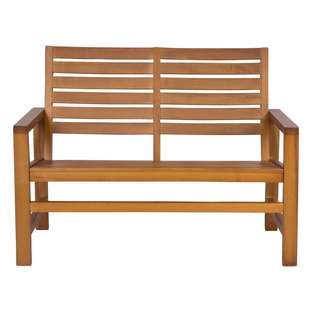 Shine Company Contemporary Wood Outdoor Garden Bench 40 In.   Oak