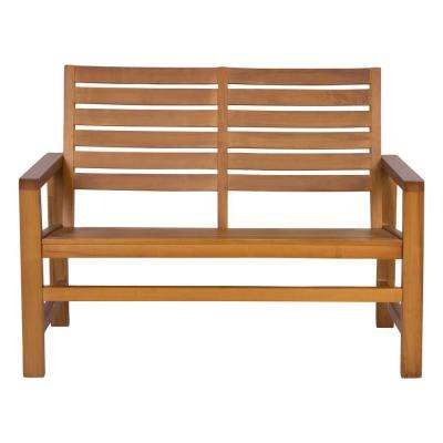 Contemporary Wood Outdoor Garden Bench 40 in. - Oak