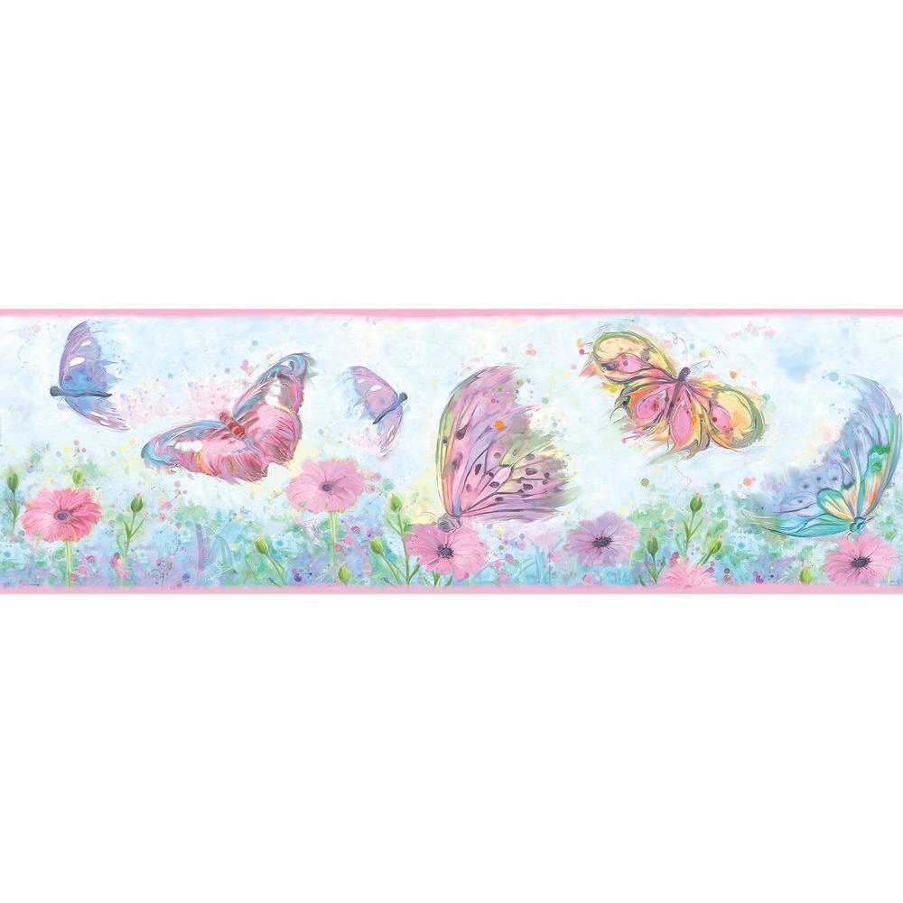Ava Pink Butterfly Swoosh Wallpaper Border Sample