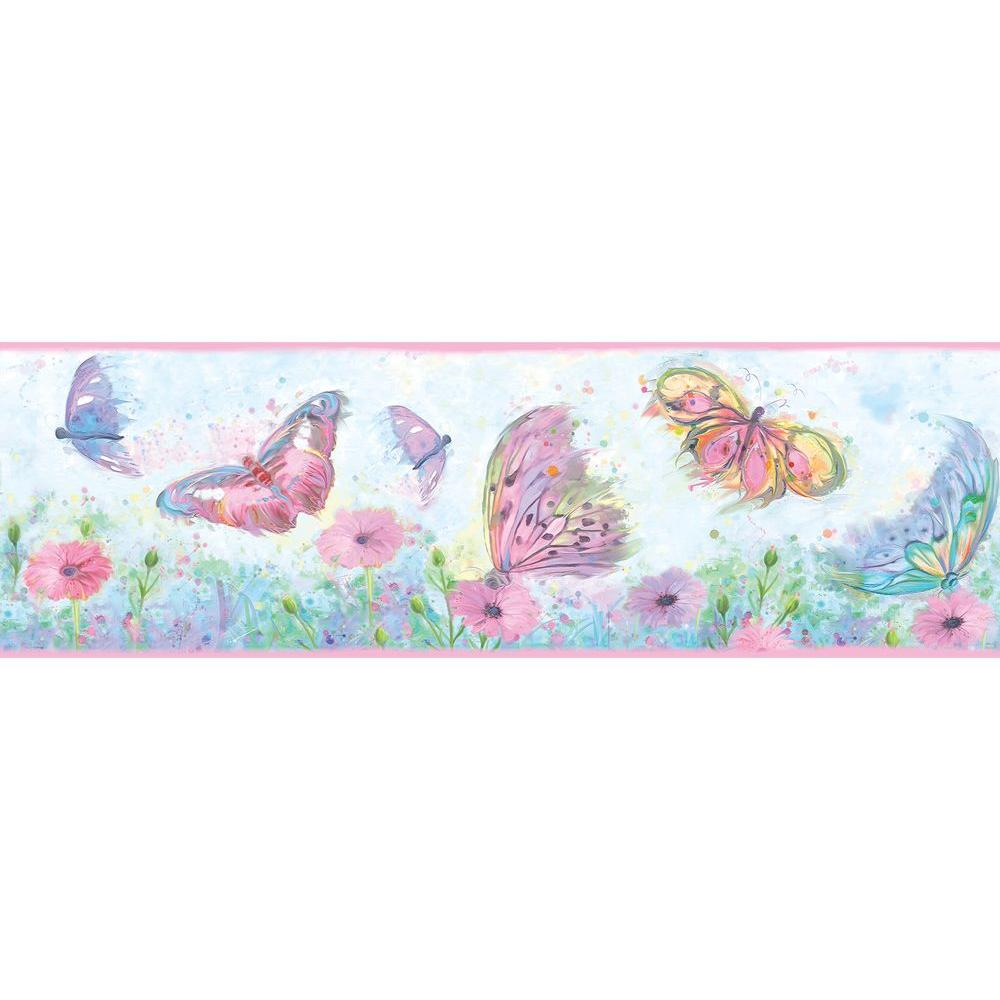 Ava Pink Butterfly Swoosh Wallpaper Border Sample
