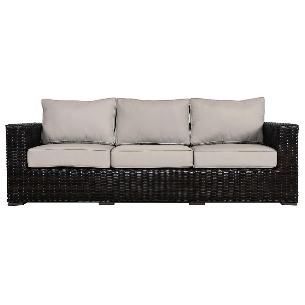 Santa Monica Patio Wicker Outdoor Sofa with Fabric Tan Cushions